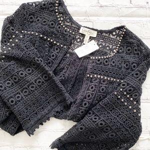 Jessica Simpson Black Knit 3/4 Sleeve Cardigan